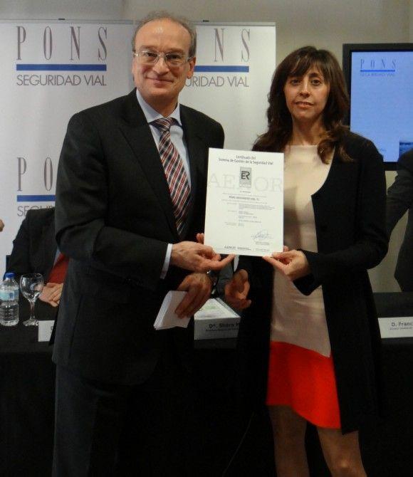 PONS Seguridad Vial recibe el certificado AENOR ISO 39001