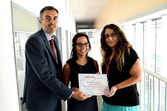 umivale reconoce la apuesta del Hospital Marina Salud por la prevención de riesgos laborales