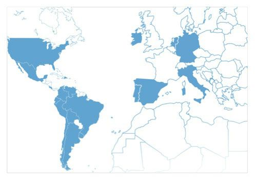 Países con presencia de Ergo/IBV: Alemania, Argentina, Bolivia, Brasil, Chile, Colombia, Costa Rica, Ecuador, Holanda, Irlanda, Italia, México, Perú, Portugal, Rep. Dominicana, Uruguay, USA, Venezuela.