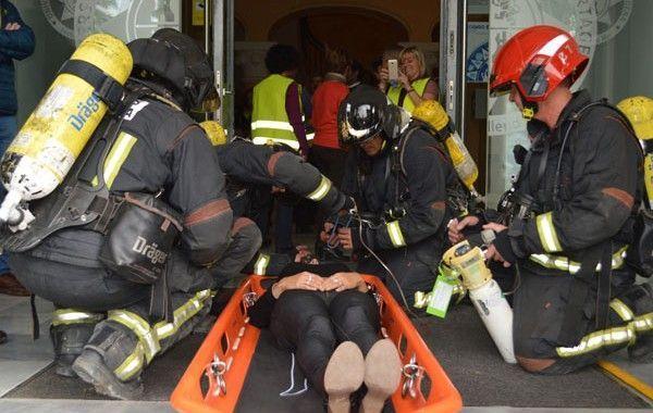 Evacuados 150 trabajadores del Rectorado de la UPCT durante un simulacro de incendio