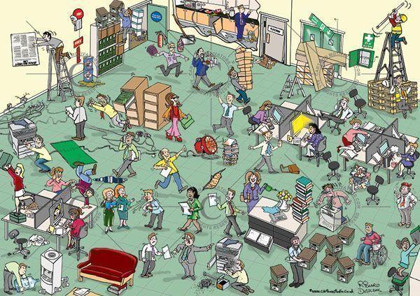 ¿Quieres caricaturizar los riesgos de tu lugar de trabajo? ¡Richard Duszczak puede ayudarte!