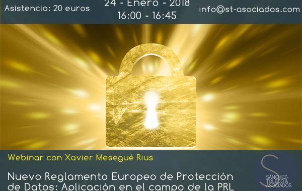 Webinar: Nuevo Reglamento Europeo de Protección de Datos. Aplicación en el campo de la PRL
