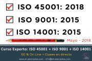 Curso Experto TRI NORMAS: ISO 45001 + ISO 14001 + ISO 9001