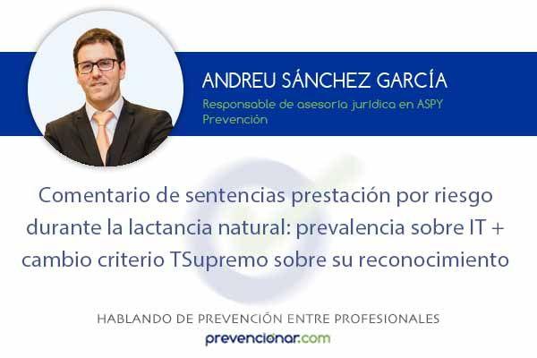 Comentario de sentencias prestación por riesgo durante la lactancia natural: prevalencia sobre IT + cambio criterio TSupremo sobre su reconocimiento