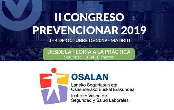 El Instituto Vasco de Seguridad y Salud Laborales (OSALAN) se suma al II Congreso Prevencionar 2019