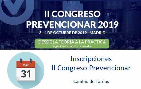Inscripciones Congreso Prevencionar - Cambio de Tarifas