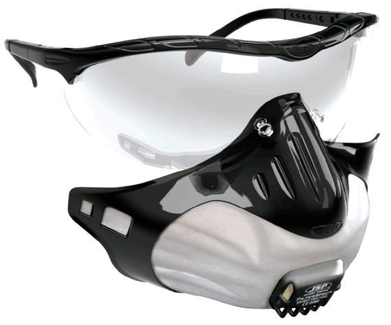 Filterspec de JSP: Mascarilla respiratoria desechable y gafas de seguridad integradas