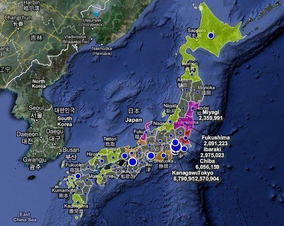 Mapa de radiación en Japón en tiempo real