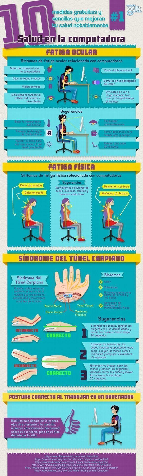 Infografía: Cuida tu salud al ordenador
