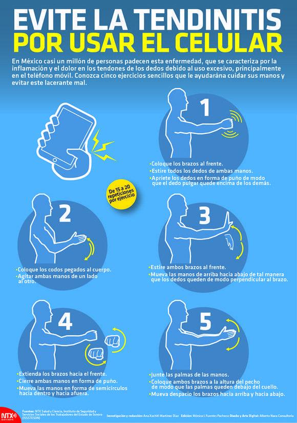 Cómo evitar la tendinitis por el uso del móvil #infografia