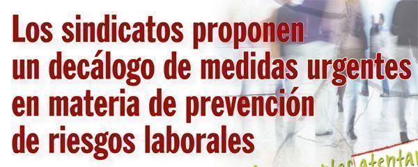 Decálogo medidas urgentes en materia de prevención de riesgos laborales