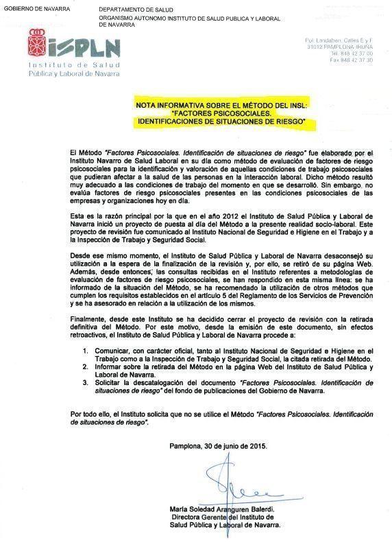 Navarra recomienda no utilizar su método de evaluación psicosocial