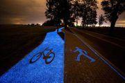 Inventan un carril-bici luminiscente que se carga durante el día con el sol