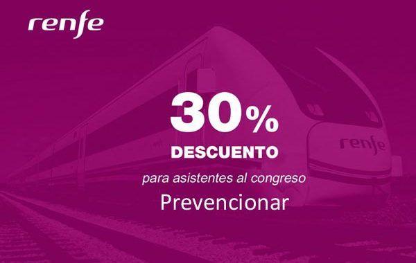 Congreso Prevencionar: 30% de descuento para desplazamientos con Renfe