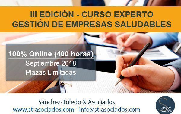 Última semana de matricula: III Edición Curso Experto en Gestión de Empresas Saludables