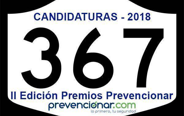 Presentadas 367 candidaturas a los Premios Prevencionar 2018