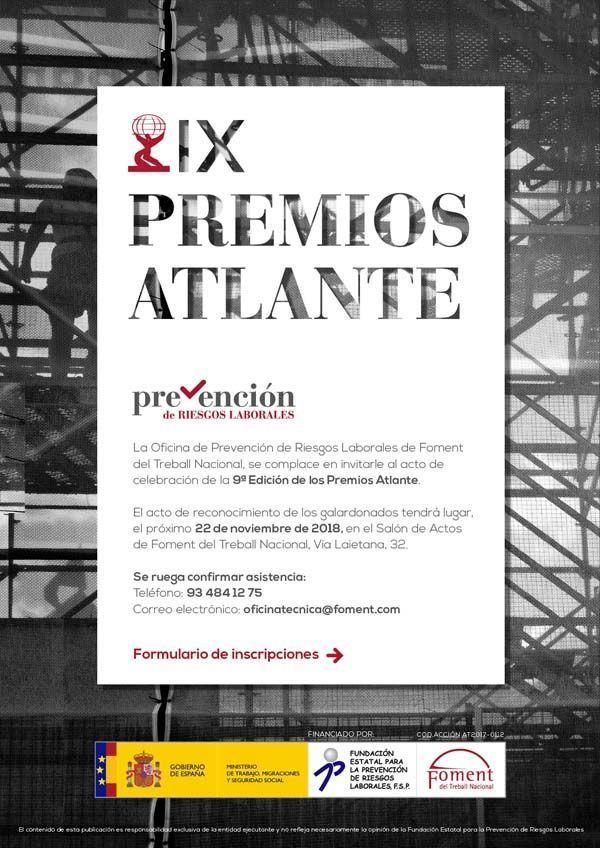IX Edición Premios Atlante. Invitación al acto de entrega
