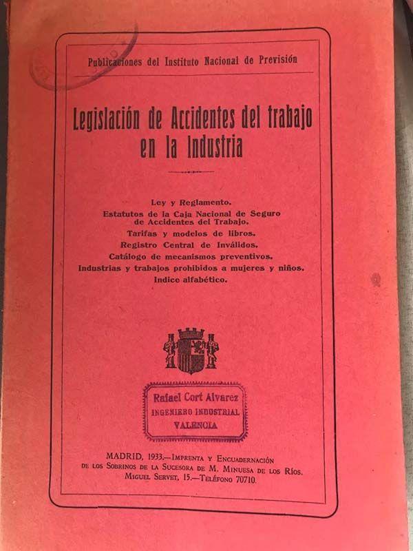 Reglamento de la Ley de accidentes de trabajo en la industria, 1933