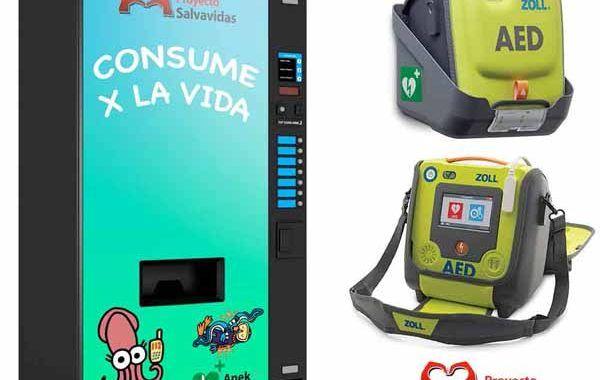 Máquinas de vending saludable con un desfibrilador automático incorporado