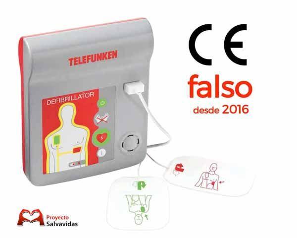 """Los desfibriladores Telefunken """"HR1"""" y """"FA1"""" y HeartReset con un marcador CE falso"""