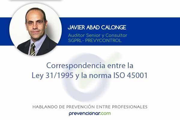 Correspondencia entre la Ley 31/1995 y la norma ISO 45001
