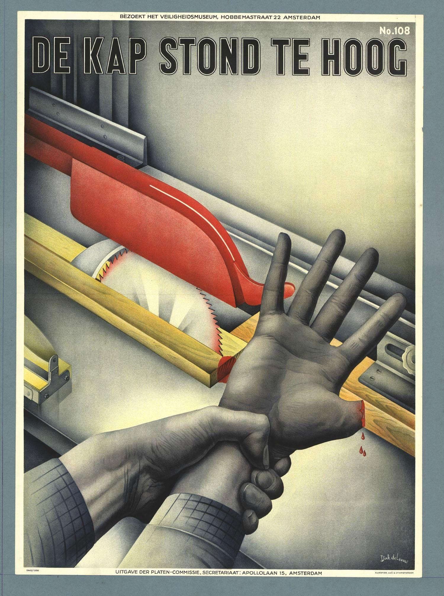 Colección posters antiguos de riesgos laborales de Holanda (III)