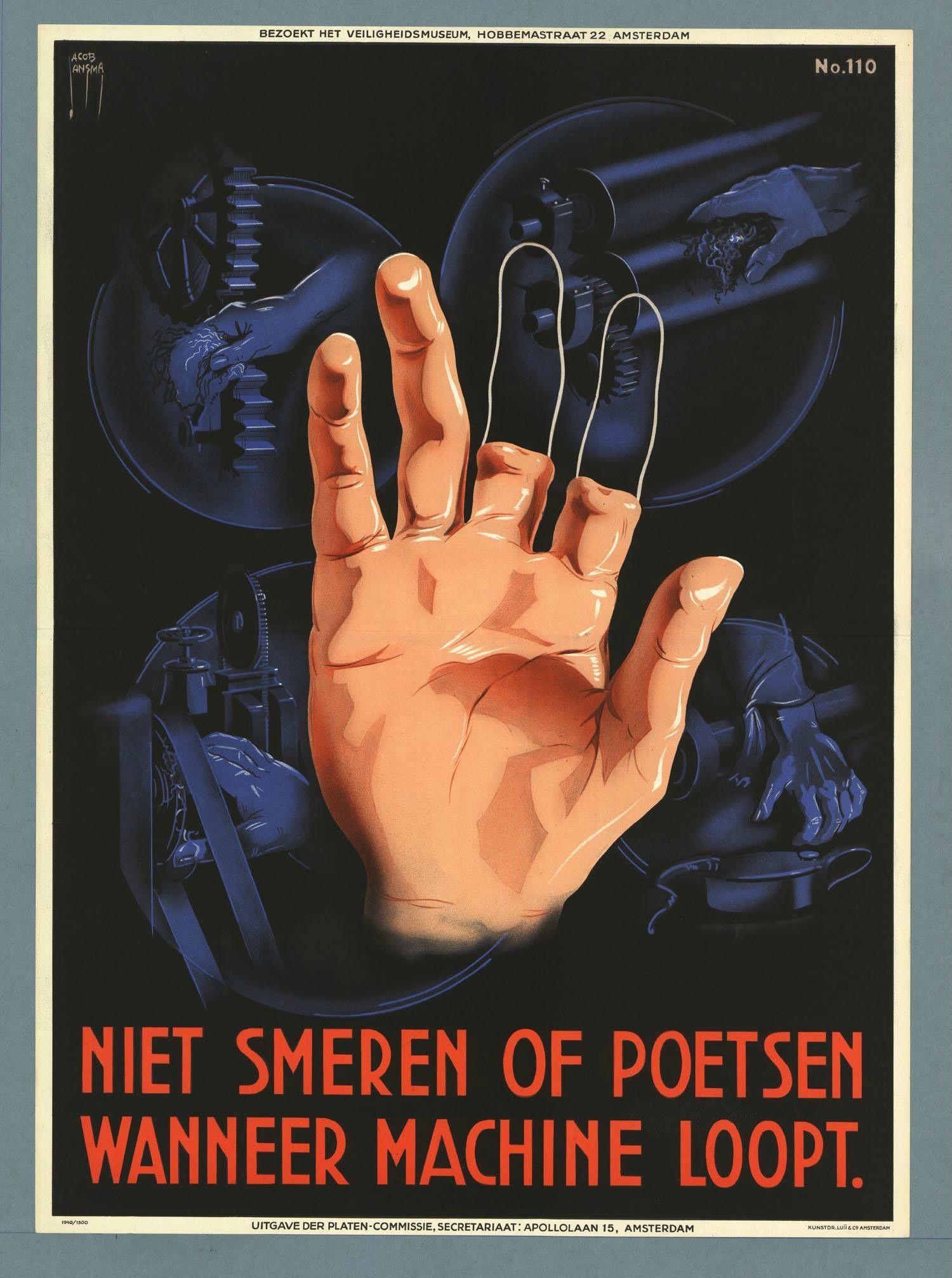 Colección posters antiguos de riesgos laborales de Holanda (I)