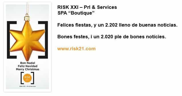 RISK XXI - Prl & Services les desea Felices fiestas, y un 2020 lleno de buenas noticias