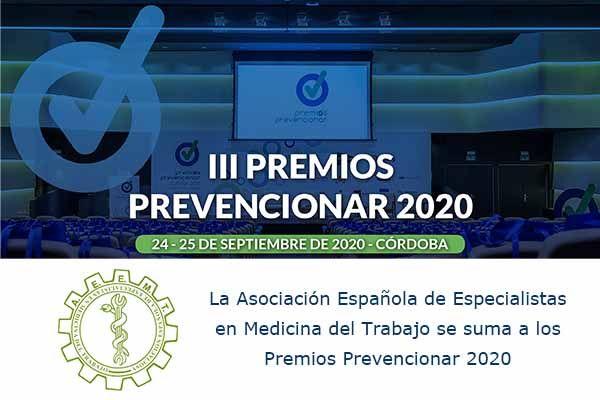 La Asociación Española de Especialistas en Medicina del Trabajo se suma a los Premios Prevencionar 2020