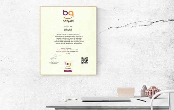 umivale consigue el Certificado Bequal PLUS