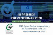 La Central Sindical Independiente y de Funcionarios (CSIF) se suma a los Premios Prevencionar 2020