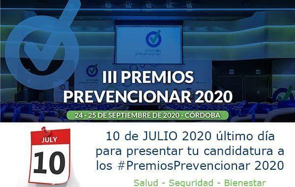 10 de JULIO 2020 último día para presentar tu candidatura a los #PremiosPrevencionar 2020