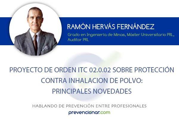 Proyecto de Orden ITC sobre protección contra inhalación de polvo: principales novedades