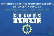 Criterios de reincorporación al trabajo establecidos por la AEEMT en pandemia COVID-19