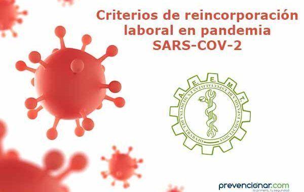 Criterios de reincorporación laboral en pandemia SARS-COV-2