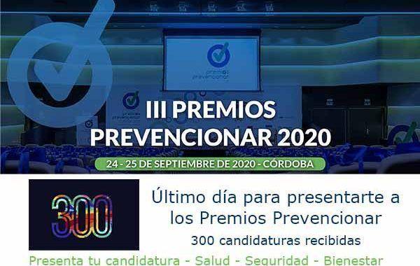 Último día para presentar tu candidatura a los Premios Prevencionar 2020
