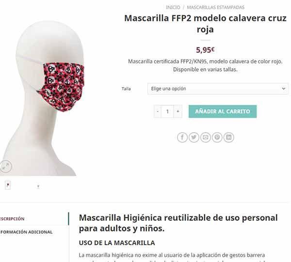 mascarilla ffp2 modelo calavera cruz roja