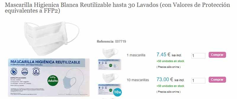 mascarilla higienica blanca reutilizable hasta 30 lavados