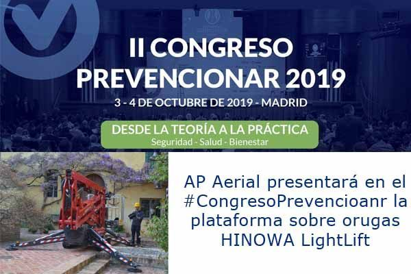 AP Aerial presentará en el #CongresoPrevencioanr la plataforma sobre orugas HINOWA LightLift