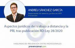 Aspectos jurídicos del trabajo a distancia y la PRL tras publicación RD-Ley 28/2020
