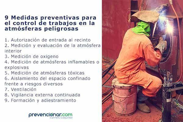 9 Medidas para el control de trabajos en la atmósferas peligrosas