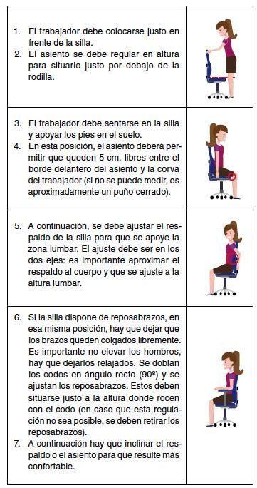 Cómo se debe ajustar una silla