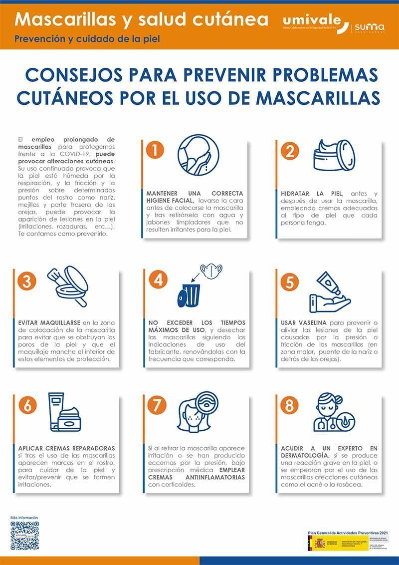 Ocho consejos para prevenir problemas cutáneos con las mascarillas