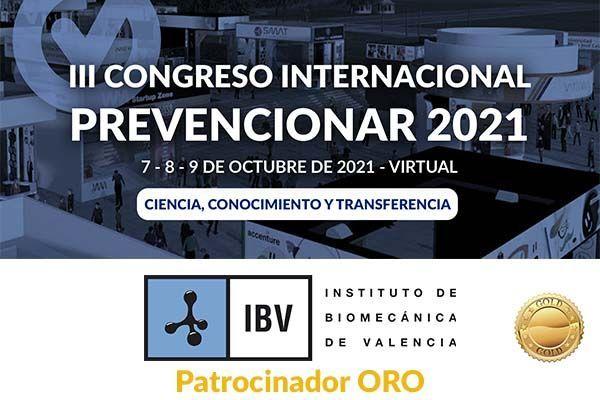 El Instituto de Biomecánica de Valencia (IBV) se convierte en patrocinador ORO del Congreso Internacional Prevencionar 2021